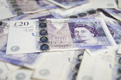 Devise britannique Fermez des Anglais les billets de banque de 20 livres Fond Images libres de droits