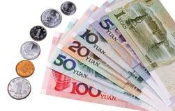 Devise chinoise : Types des billets de banque et de pièces de monnaie Photographie stock libre de droits