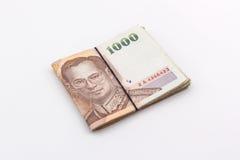 Devise de baht thaïlandais avec le billet de banque, argent thaïlandais Images libres de droits