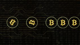Devise de réseau de bitcoin de Digital crypto avec le fond de code binaire illustration libre de droits