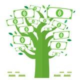 Devise de vecteur d'icônes de vert d'arbre d'argent de Dolar Photos libres de droits
