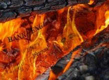 Devise en flammes Photo stock