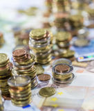 Devise européenne (billets de banque et pièces de monnaie) Photo libre de droits