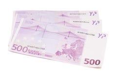 Devise européenne d'euro argent de billets de banque comprenant 500 euros Images libres de droits