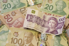 Devise/factures du dollar canadien Image stock