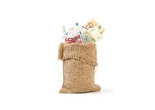 Devise haute d'euro billets de banque et européenne étroite Photos stock