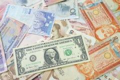 Devise intense des Etats-Unis sur le fond asiatique d'argent photos libres de droits