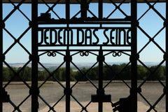 Devise nazie Jedem DAS la Seine vue dans la concentration de Buchenwald Photographie stock
