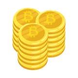 Devise numérique d'or de Bitcoin Une pile de bitcoin de pièces de monnaie Pile d'or de pièces de monnaie de cryptocurrency de bit Photographie stock