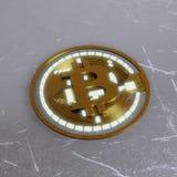 Devise numérique de bitcoin d'or, argent numérique futuriste, concept mondial de réseau de technologie Photos stock