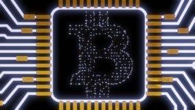 Devise numérique de bitcoin d'or, argent numérique futuriste, concept mondial de réseau de technologie Images stock