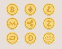 Devise numérique de bitcoin réglé de pièce de monnaie de Cryptocurrency virtuelle illustration libre de droits