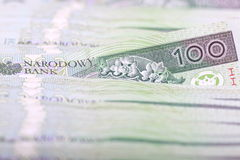 Devise polonaise 100 PLN Photos stock