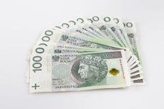 Devise polonaise Fan de polonais 100 billets de banque de Zloty Photos libres de droits