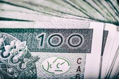 Devise polonaise PLN, argent Classez le rouleau de billets de banque de 100 PLN P Photographie stock libre de droits