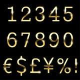 Devise réglée de police d'or de vecteur, nombres et symboles spéciaux Illustration Libre de Droits