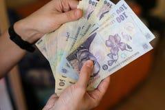 devise roumaine de 50 et de 100 Lei photos libres de droits