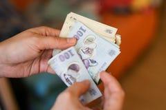 devise roumaine de 50 et de 100 Lei image stock