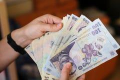 devise roumaine de 50 et de 100 Lei photos stock