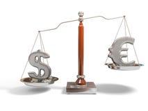 Devise sur l'échelle d'équilibre Photo libre de droits
