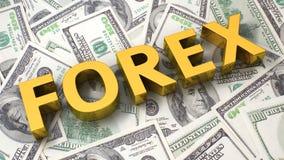 Devisen auf dem Dollarhintergrund Stockfotos