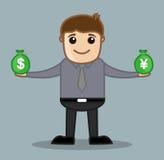 Devisen - Büro und Geschäftsleute Zeichentrickfilm-Figur-Vektor-Illustrations-Konzept- Stockfoto
