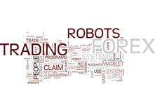 Devisen-Roboter-Mythos-Text-Hintergrund-Wort-Wolken-Konzept stock abbildung