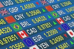 Devisen tauschen internationale Münzen aus Stockfoto