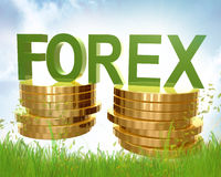 Devisenhandels- und -goldmünzesymbol Stockfoto