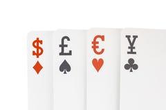 Devisenkurs-Spielkarten mit Dollar-Europfund Yen Symbol Lizenzfreies Stockfoto