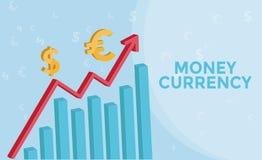 Devisenmarktinformationsgraphik mit 3d Pfeil, Eurosymbol, US-Dollar Symbol Devisengeschäftskonzept und Geld-Währung Lizenzfreies Stockbild