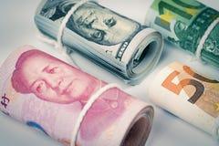 Devises et concepts marchands d'échange d'argent Les rouleaux de variété Photographie stock libre de droits