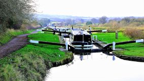 Caen Hill Canal locks, Devizes, Wiltshire, UK royalty free stock images
