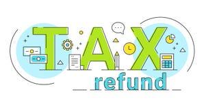 Devolución de impuestos que pone letras al ejemplo del concepto de la muestra Diseño del vector fotos de archivo libres de regalías