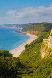 Devon beach Branscombe. Branscombe beach in Devon looking towards Sidmouth. It is located within the East Devon Area of Outstanding Natural Beauty, It is part of royalty free stock photos