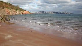 Devon beach sea and coast towards Torquay England UK stock video