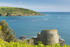 Devon coast Salcombe England uk in summer with Charles Fort ruins and pilot gig boats Stock Image