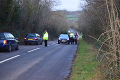 Devon and Cornwall police Deal with RTC Royalty Free Stock Images