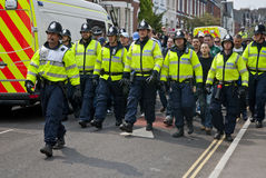 Devon and Cornwall Police escort football fans Stock Photography
