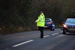 Devon en Cornwall de politie behandelen RTC Stock Fotografie