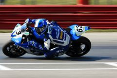 Devon McDonough. Yamaha V-Max powered Yamaha YZF-R1 at the pro motorsports super motorcycle racing event, Central Ohio, United States royalty free stock photography