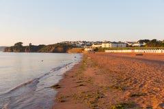 Devon sandig strand Goodrington nära Paignton royaltyfri fotografi