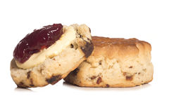 Devon scone with clotted cream on top Stock Photos