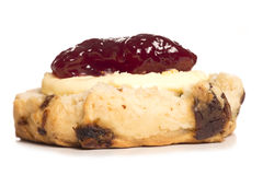 Devon scone with clotted cream on top Royalty Free Stock Images