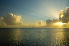 devon sjösidasolnedgång Royaltyfri Fotografi