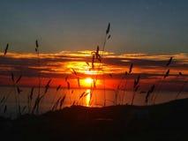 Devon sunset. Sunset in morthoe devon royalty free stock photos