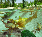 Devonian Lake Cycle Of Life Stock Photo