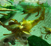 Devonian Lake Scene. An illustration of a Devonian Period (419 to 358 million years ago) lake scene depicting a cycle of life. The Eurypterids (Sea Scorpions) stock illustration