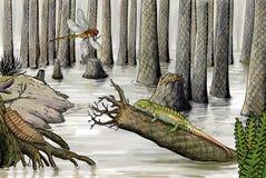 Devonian wildlife. Digital illustration, carboniferous Royalty Free Stock Image