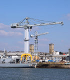 Devonport Dockyard, Plymouth uk. Huge crane in the Navy dockyard in the South West of England. Established in the middle ages Stock Image